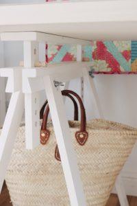 Ikea trestles make an adjustable work surface