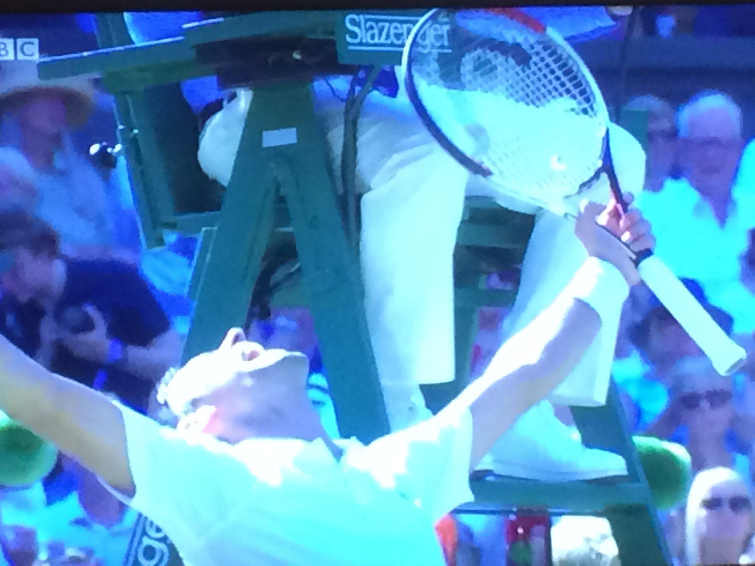 Djokovic winning the men's singles at Wimbledon 2018
