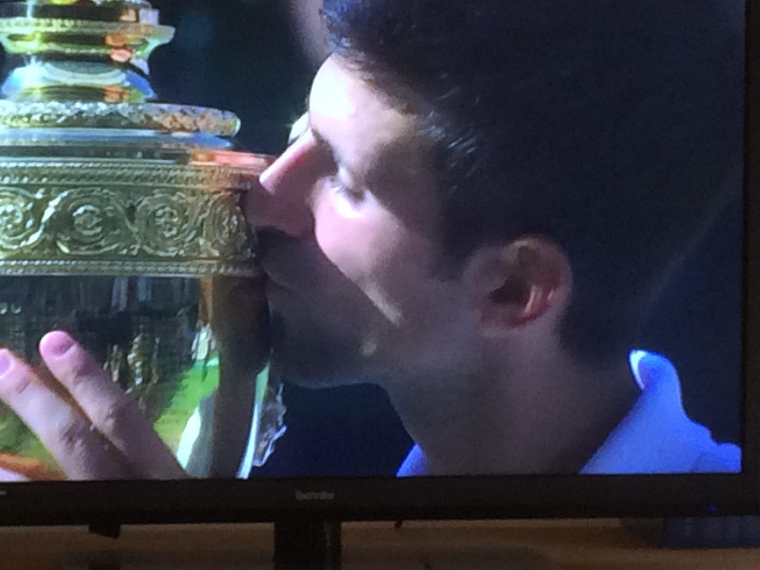 Djokovic with the Wimbledon trophy